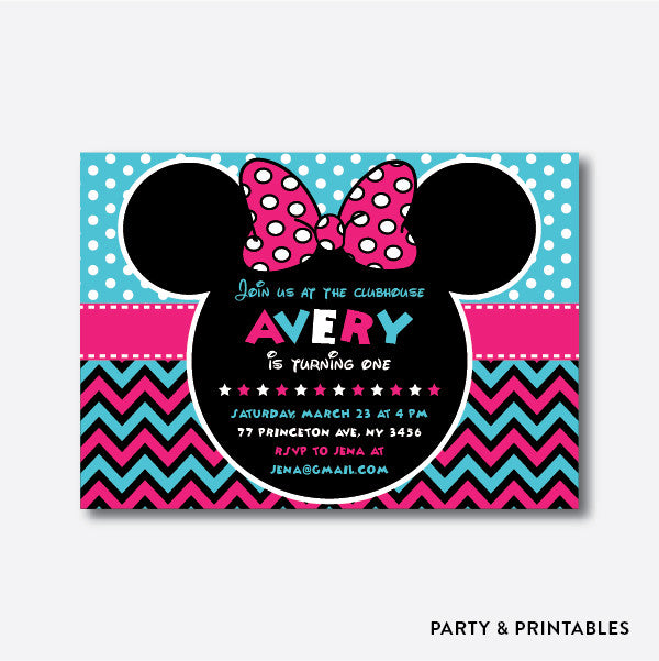 Minnie Mouse Kids Birthday Invitation / Personalized (SKB.10)