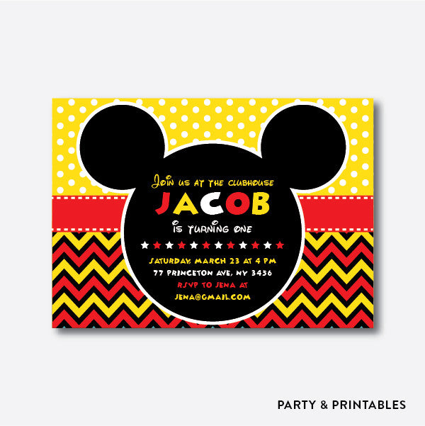 Mickey Mouse Kids Birthday Invitation / Personalized (SKB.11)