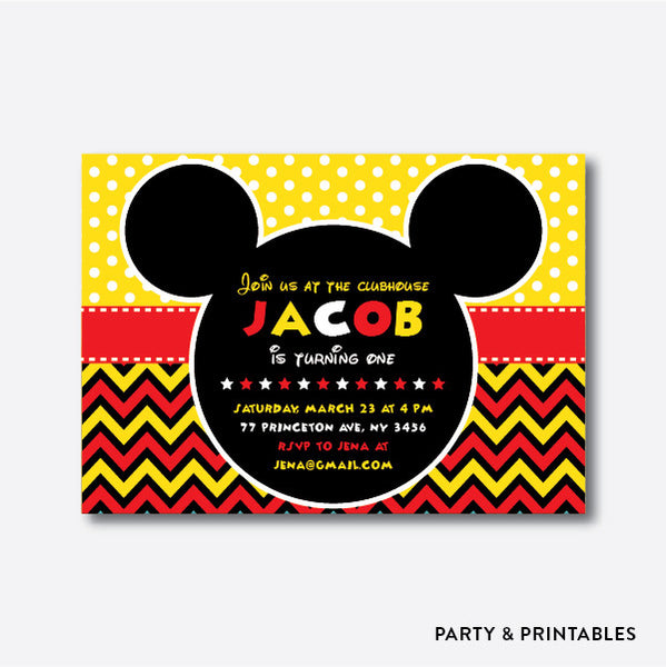 Mickey Mouse Kids Birthday Invitation / Personalized (SKB.11), invitation - Party and Printables
