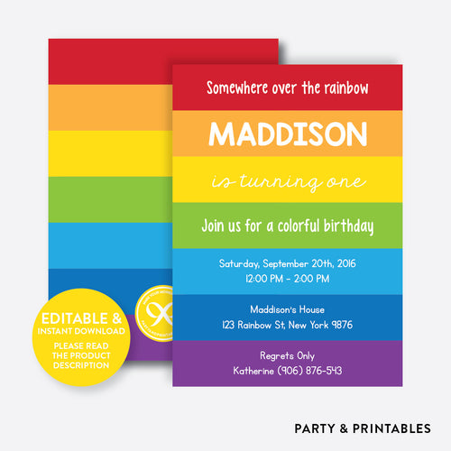 Rainbow Kids Birthday Invitation / Editable / Instant Download (SKB.15)