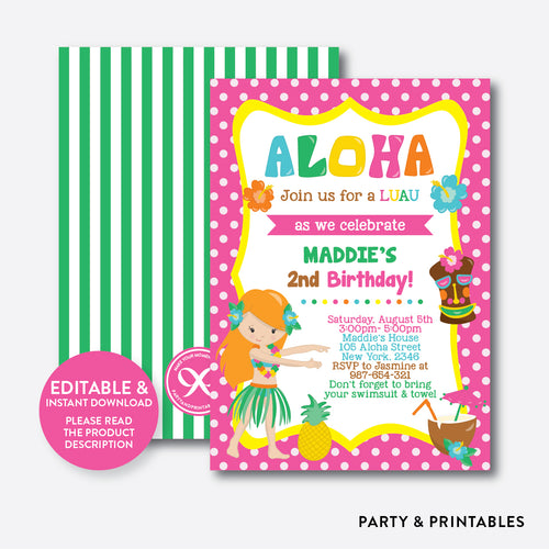 Luau Kids Birthday Invitation / Editable / Instant Download (SKB.16C)