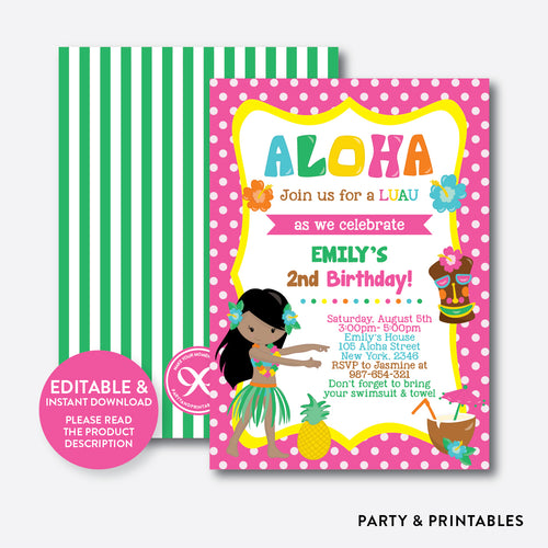 Luau Kids Birthday Invitation / Editable / Instant Download (SKB.16D)