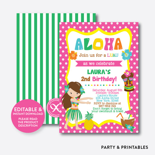 Luau Kids Birthday Invitation / Editable / Instant Download (SKB.16)