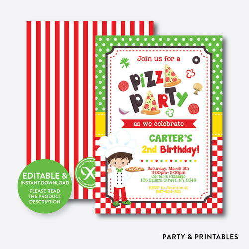 Pizza Kids Birthday Invitation / Editable / Instant Download (SKB.19)