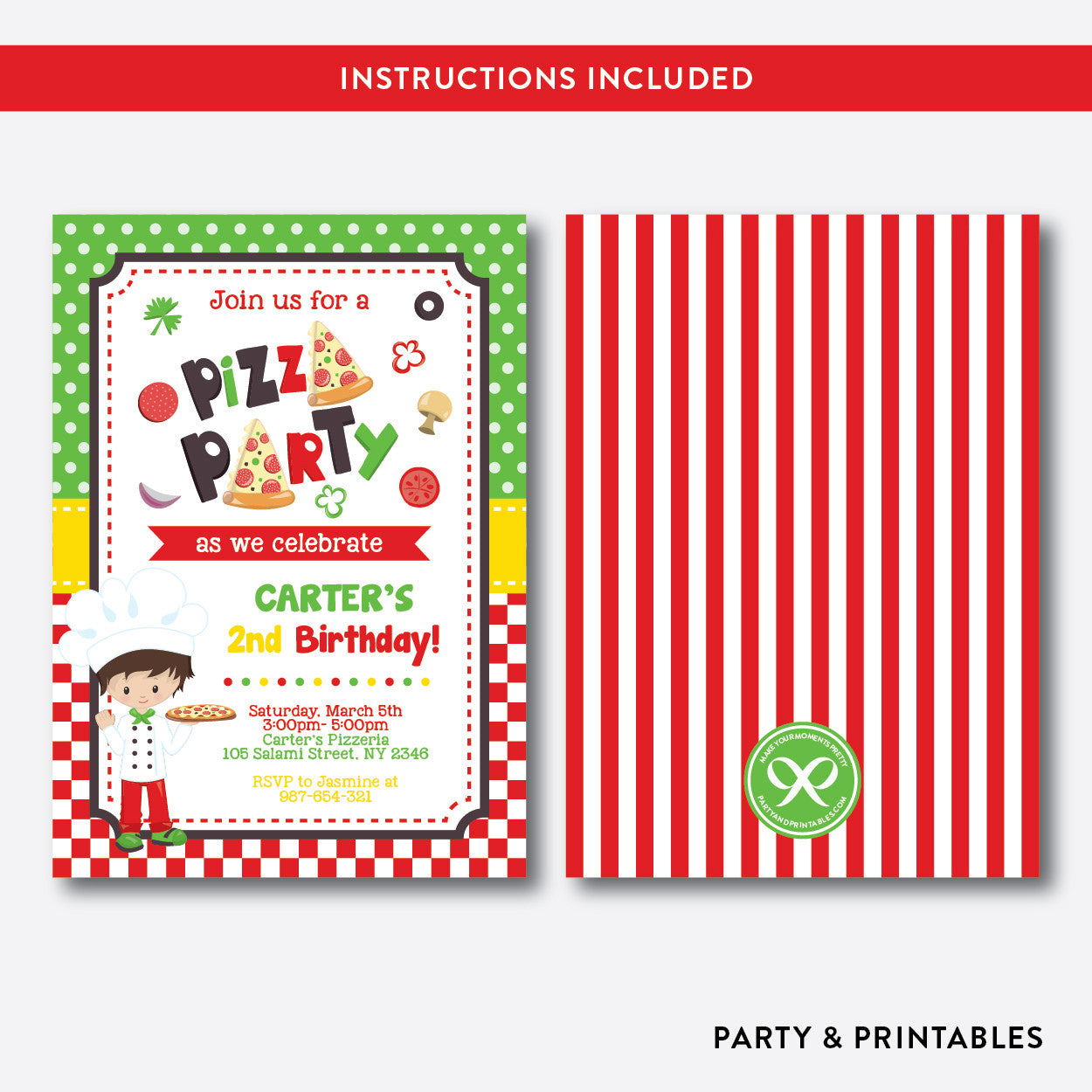 Pizza Kids Birthday Invitation / Editable / Instant Download (SKB.19), invitation - Party and Printables