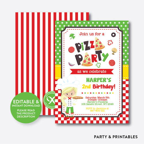 Pizza Kids Birthday Invitation / Editable / Instant Download (SKB.20B)
