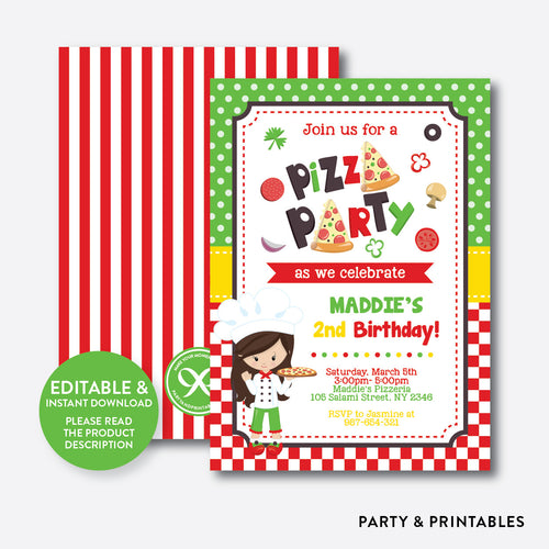 Pizza Kids Birthday Invitation / Editable / Instant Download (SKB.20)