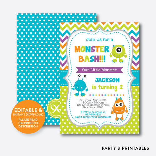 Monsters Kids Birthday Invitation / Editable / Instant Download (SKB.21)