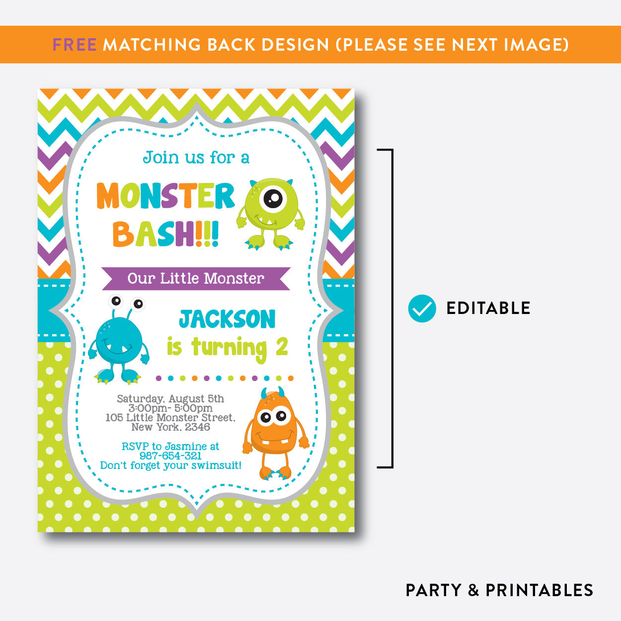 Monsters Kids Birthday Invitation / Editable / Instant Download (SKB ...