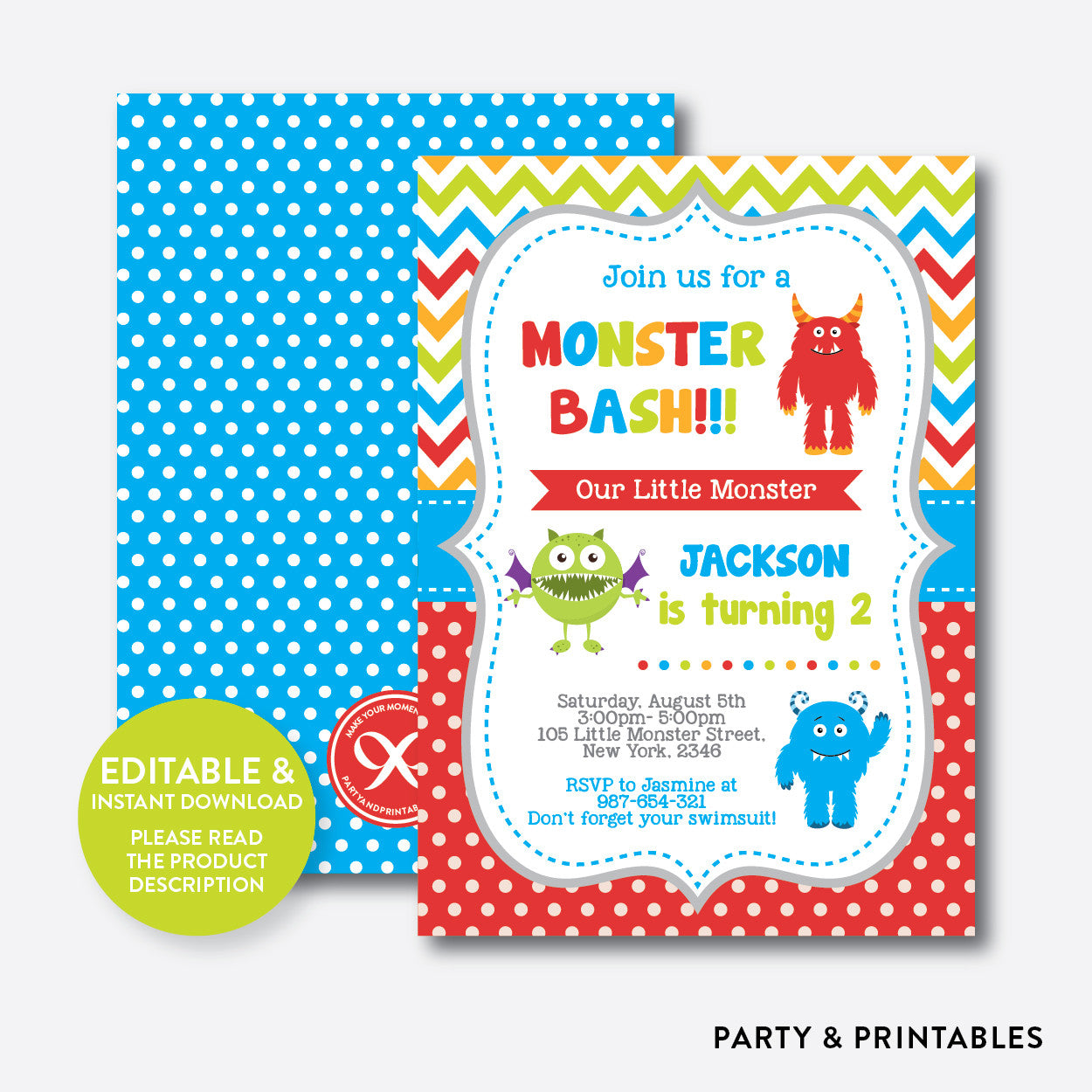 Monsters Kids Birthday Invitation Editable Instant Download SKB22
