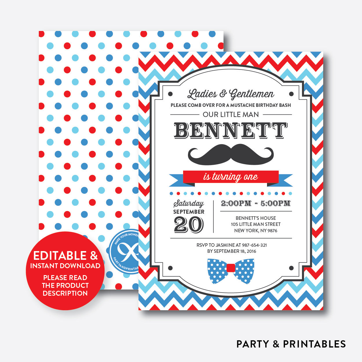Mustache Kids Birthday Invitation / Editable / Instant Download (SKB.24), invitation - Party and Printables