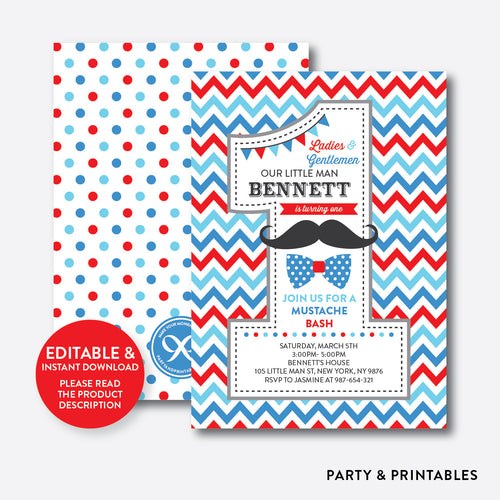 Mustache 1st Birthday Invitation / Editable / Instant Download (SKB.24C)