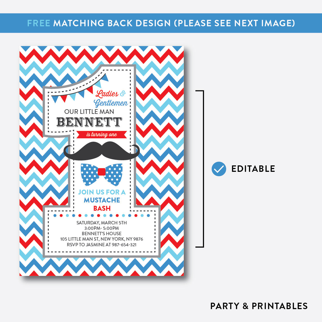 Mustache 1st Birthday Invitation / Editable / Instant Download (SKB.24C), invitation - Party and Printables
