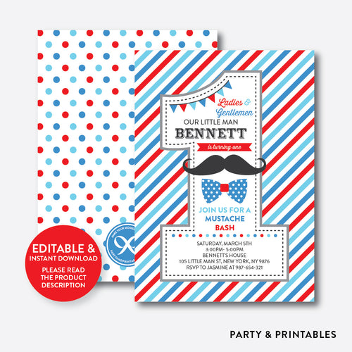 Mustache 1st Birthday Invitation / Editable / Instant Download (SKB.24D)