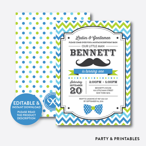 Mustache Kids Birthday Invitation / Editable / Instant Download (SKB.25), invitation - Party and Printables