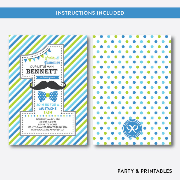 Mustache 1st Birthday Invitation / Editable / Instant Download (SKB.25D), invitation - Party and Printables