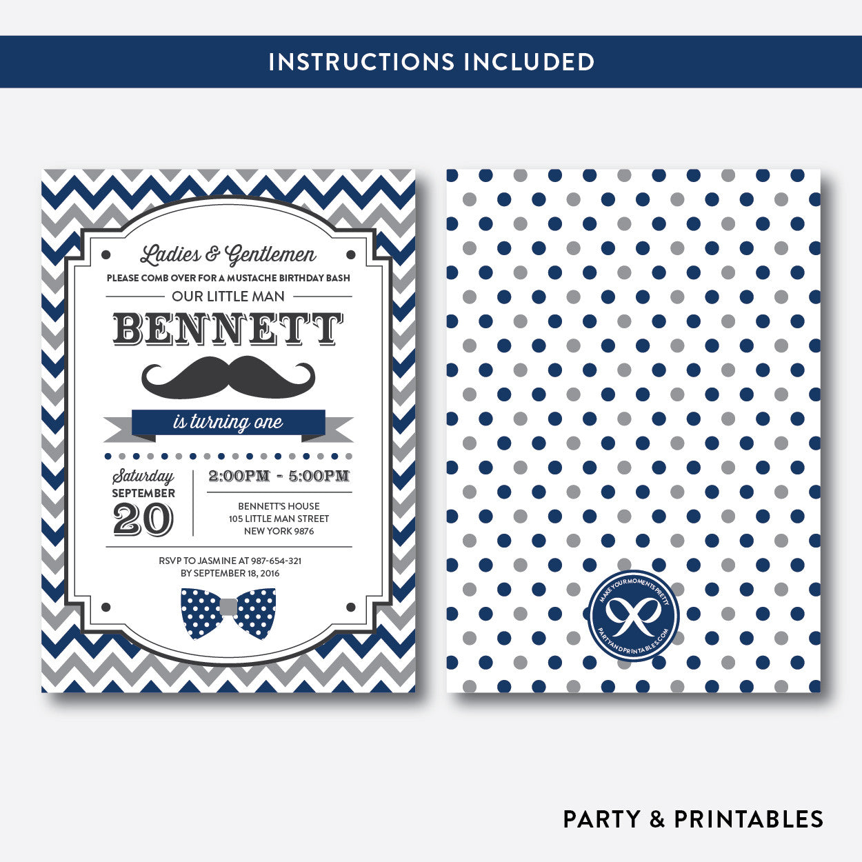 Mustache Kids Birthday Invitation / Editable / Instant Download (SKB.26), invitation - Party and Printables