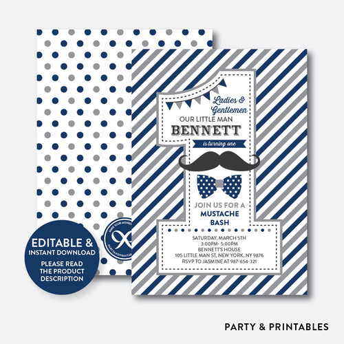 Mustache 1st Birthday Invitation / Editable / Instant Download (SKB.26D)