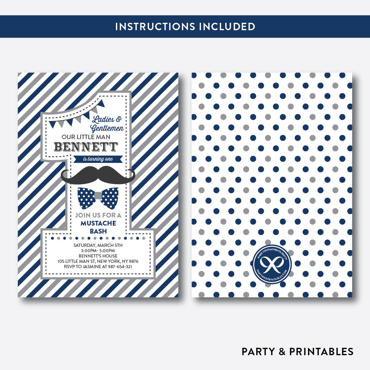 Mustache 1st Birthday Invitation / Editable / Instant Download (SKB.26D), invitation - Party and Printables