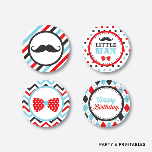 Mustache Cupcake Toppers / Non-Personalized / Instant Download (SKB.27)