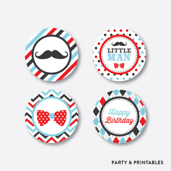 Mustache Cupcake Toppers / Non-Personalized / Instant Download (SKB.27), party printables - Party and Printables