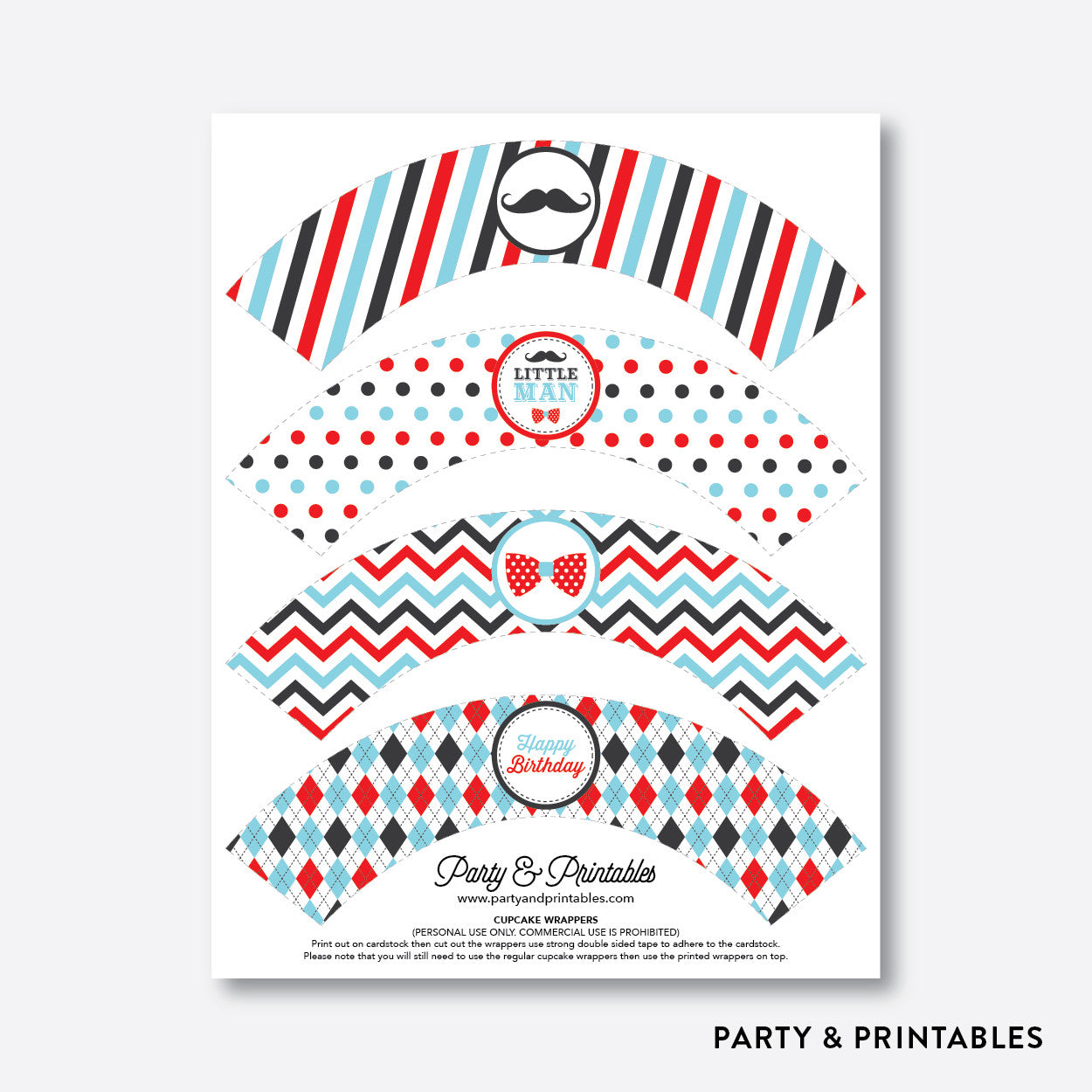 Mustache Cupcake Wrappers / Non-Personalized / Instant Download (SKB.27), party printables - Party and Printables