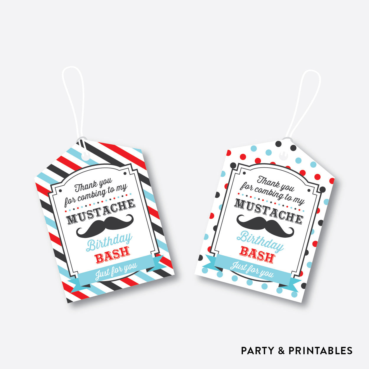 Mustache Favor Tags / Non-Personalized / Instant Download (SKB.27), party printables - Party and Printables