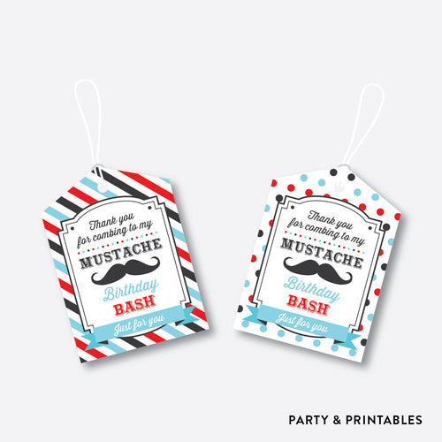 Mustache Favor Tags / Non-Personalized / Instant Download (SKB.27)