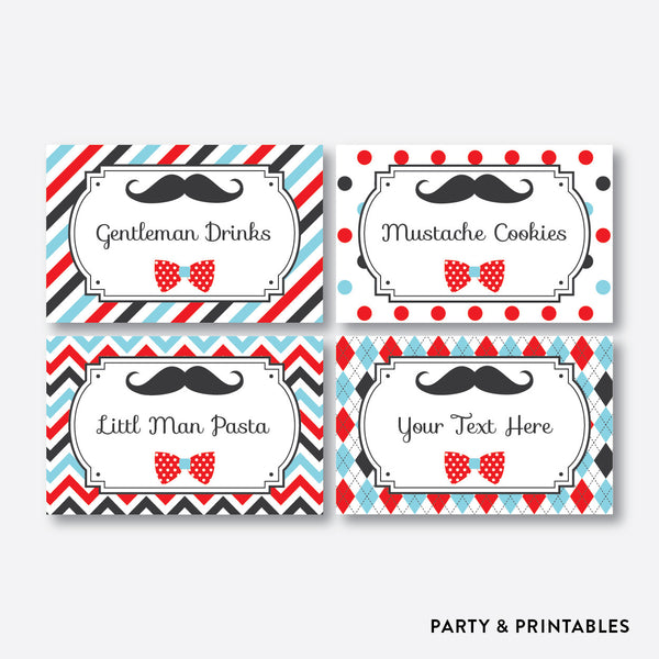 Mustache Food Labels / Editable / Instant Download (SKB.27), party printables - Party and Printables