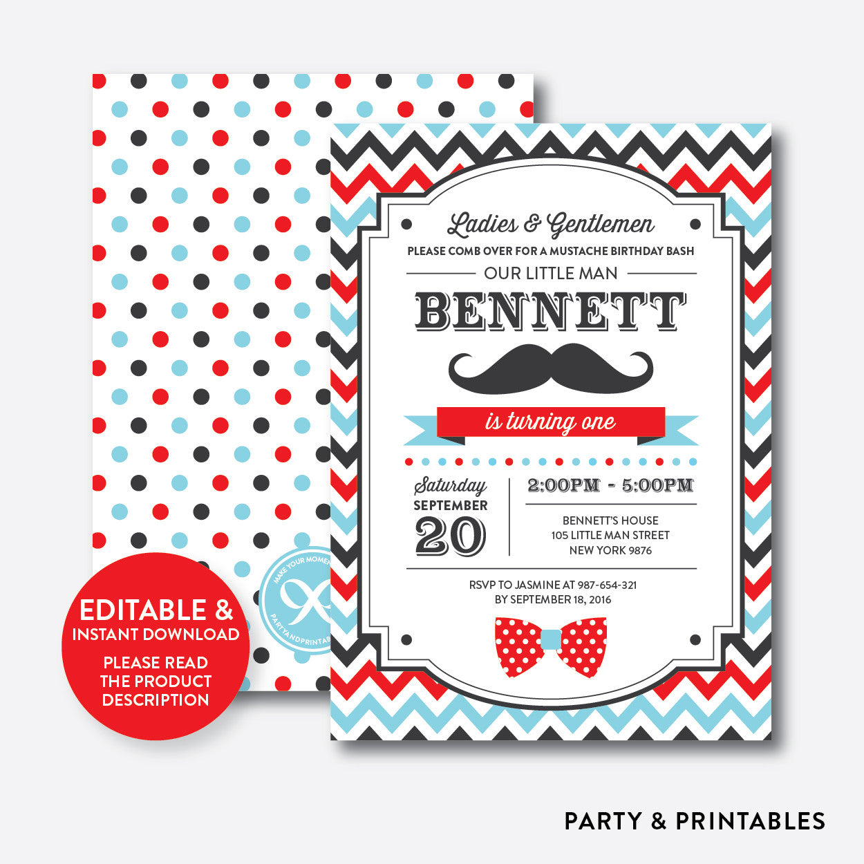 Mustache Kids Birthday Invitation / Editable / Instant Download (SKB.27), invitation - Party and Printables