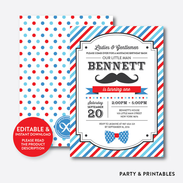 Mustache Kids Birthday Invitation / Editable / Instant Download (SKB.24B), invitation - Party and Printables