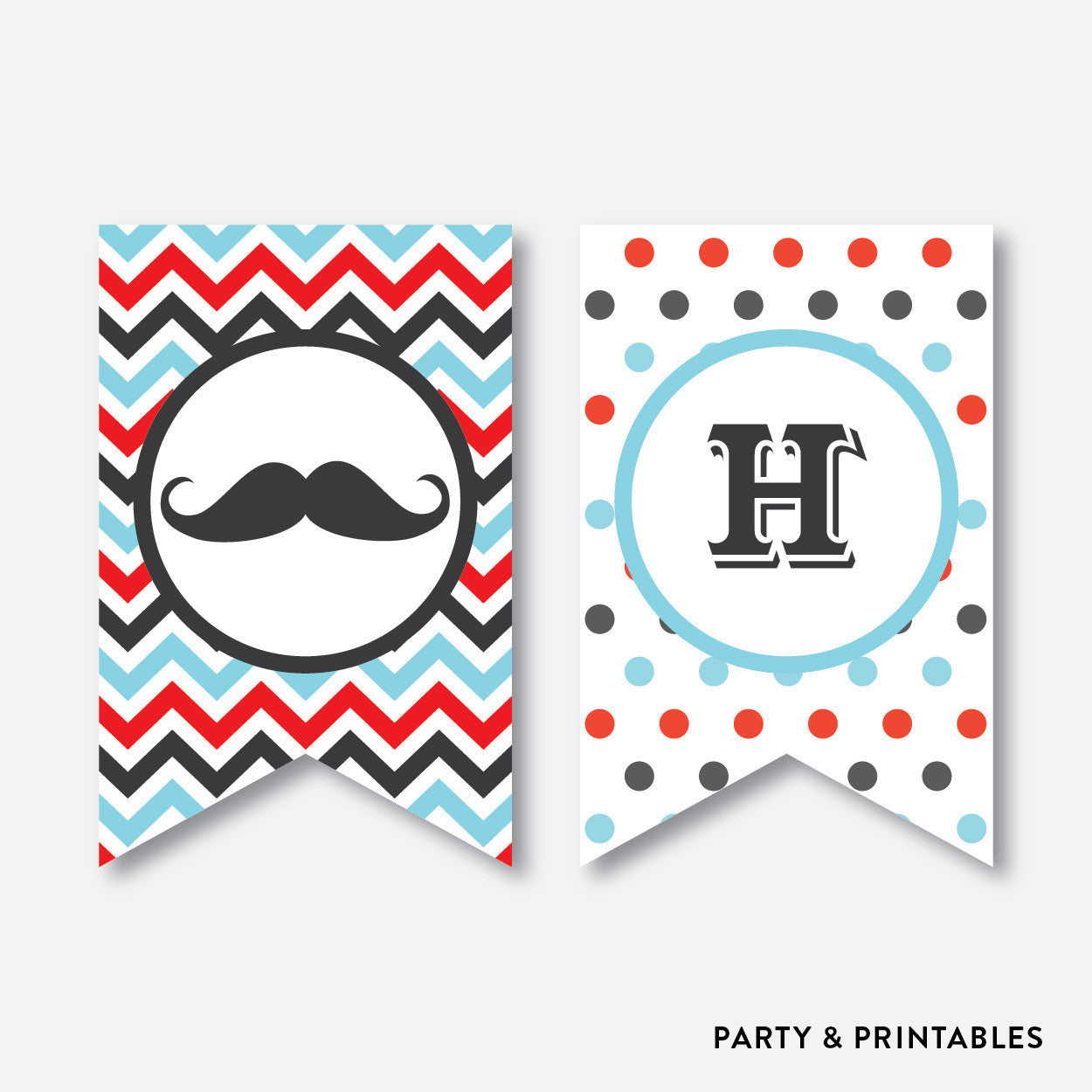 Mustache Party Banner / Happy Birthday Banner / Non-Personalized / Instant Download (SKB.07)