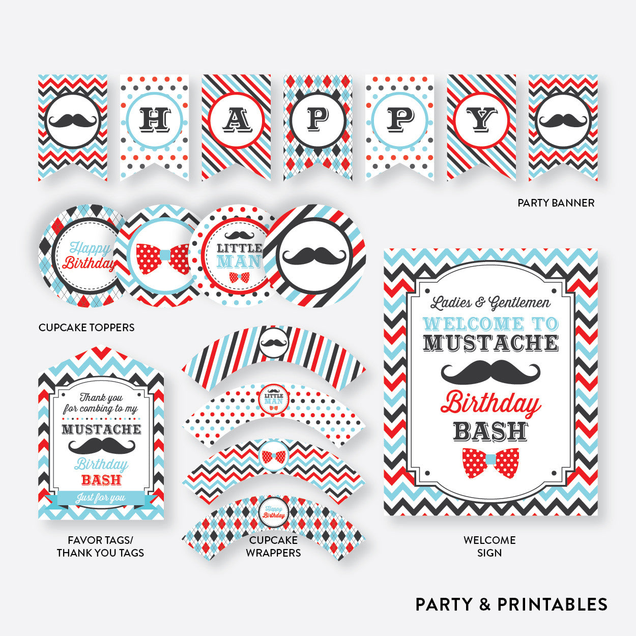 Mustache Standard Kids Birthday Party Package / Non-Personalized / Instant Download (SKB.27), party package - Party and Printables