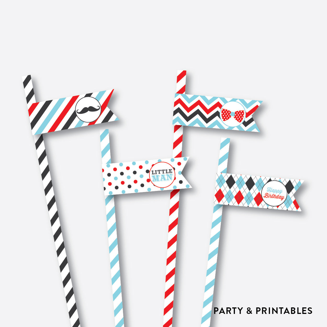 Mustache Straw Flags / Non-Personalized / Instant Download (SKB.27), party printables - Party and Printables