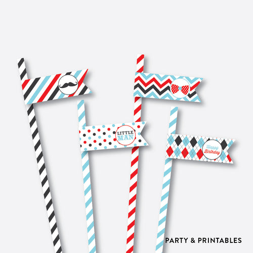 Mustache Straw Flags / Non-Personalized / Instant Download (SKB.27)