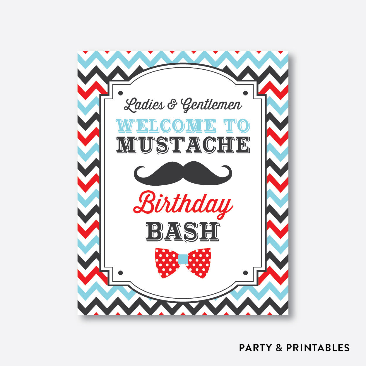 Mustache Welcome Sign / Non-Personalized / Instant Download (SKB.27), party printables - Party and Printables