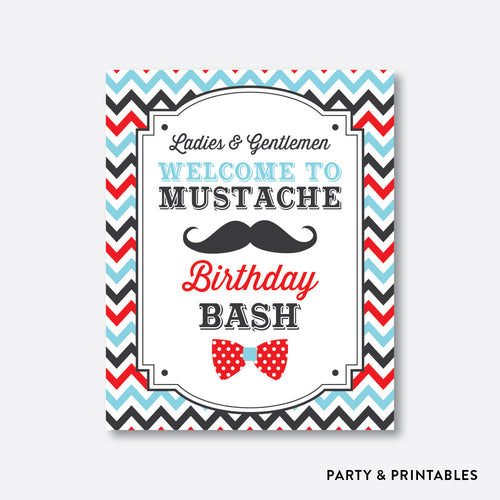 Mustache Welcome Sign / Non-Personalized / Instant Download (SKB.27)