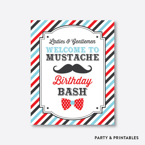 Mustache Welcome Sign / Non-Personalized / Instant Download (SKB.27b)