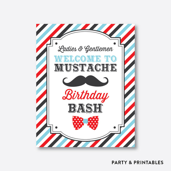 Mustache Welcome Sign / Non-Personalized / Instant Download (SKB.27b), party printables - Party and Printables