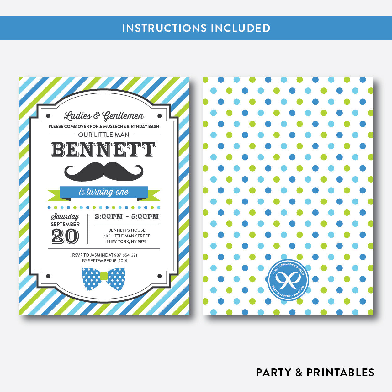 Mustache Kids Birthday Invitation / Editable / Instant Download (SKB.25B), invitation - Party and Printables