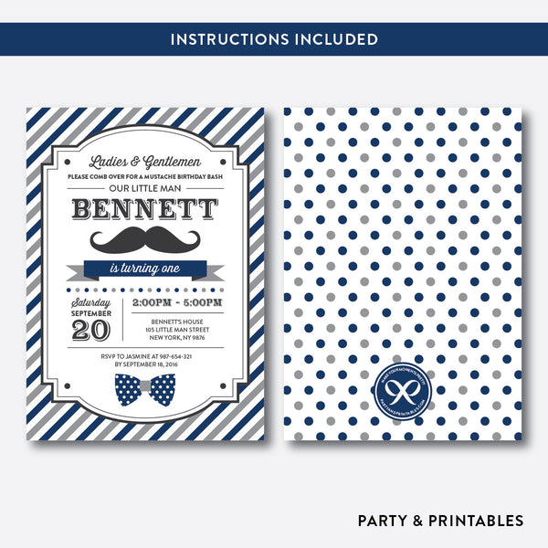 Mustache Kids Birthday Invitation / Editable / Instant Download (SKB.26B), invitation - Party and Printables