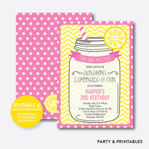 Pink Lemonade Stand Kids Birthday Invitation / Editable / Instant Download (SKB.36)