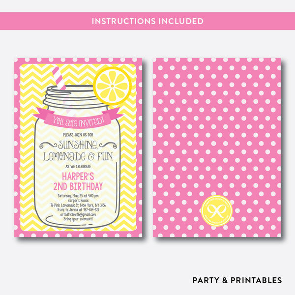 Pink Lemonade Stand Kids Birthday Invitation / Editable / Instant Download (SKB.36), invitation - Party and Printables