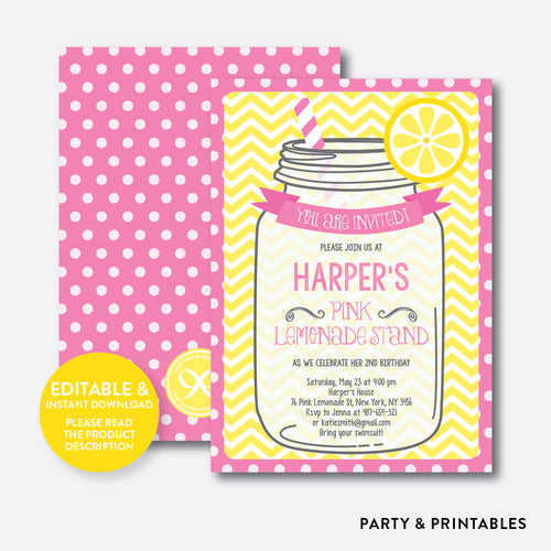 Pink Lemonade Stand Kids Birthday Invitation / Editable / Instant Download (SKB.36B)