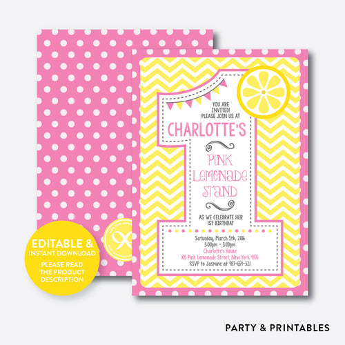 Pink Lemonade Stand 1st Birthday Invitation / Editable / Instant Download (SKB.36C)