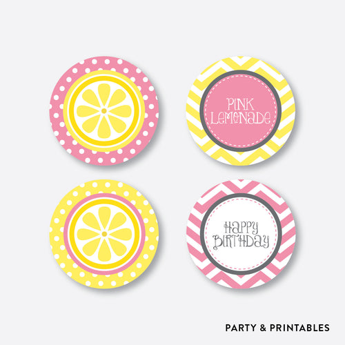 Pink Lemonade Stand Cupcake Toppers / Non-Personalized / Instant Download (SKB.37)
