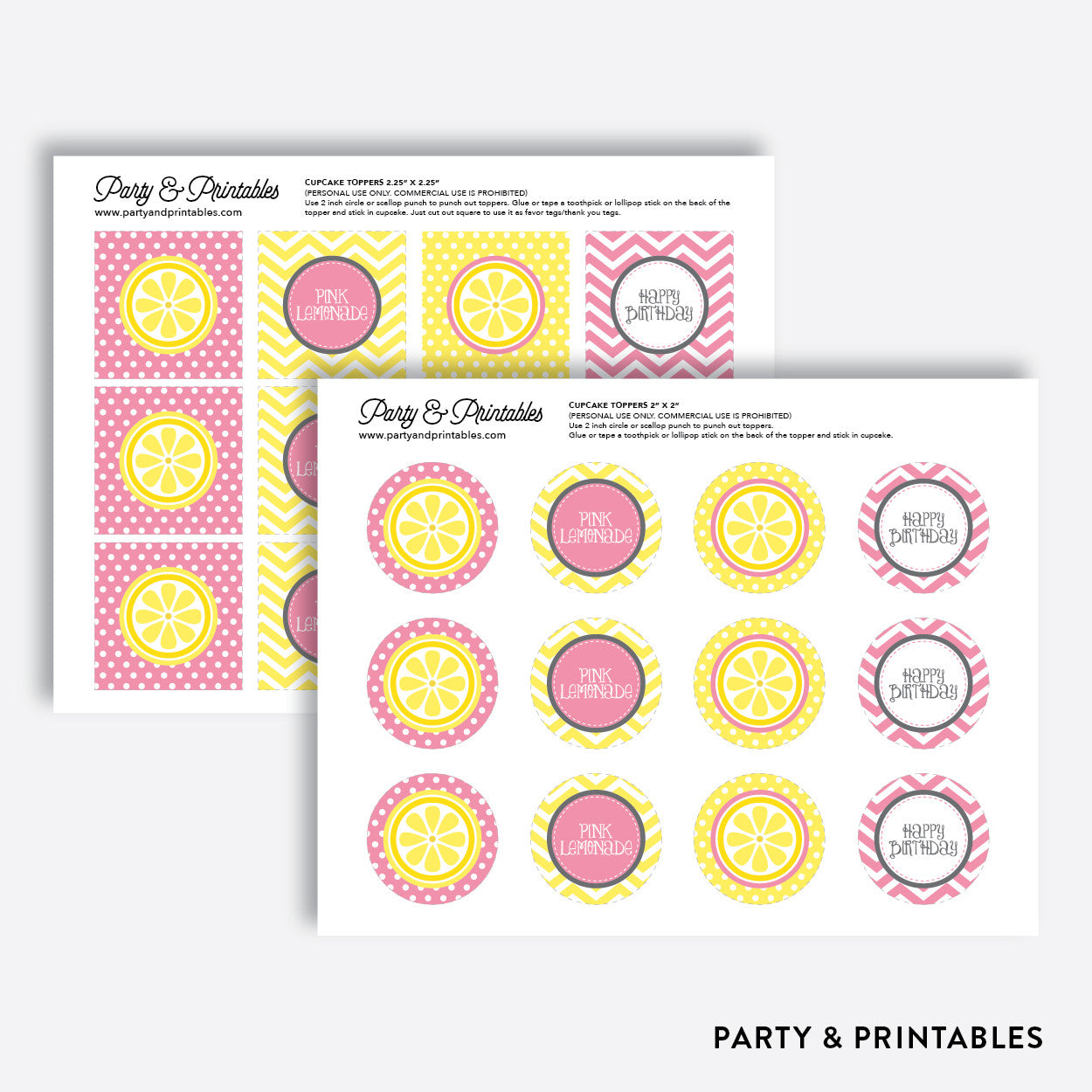 Pink Lemonade Stand Cupcake Toppers / Non-Personalized / Instant Download (SKB.37), party printables - Party and Printables
