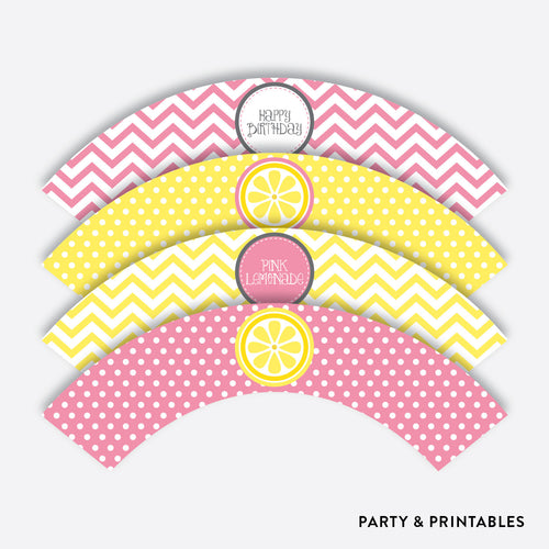 Pink Lemonade Stand Cupcake Wrappers / Non-Personalized / Instant Download (SKB.37)