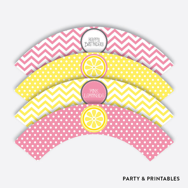 Pink Lemonade Stand Cupcake Wrappers / Non-Personalized / Instant Download (SKB.37), party printables - Party and Printables