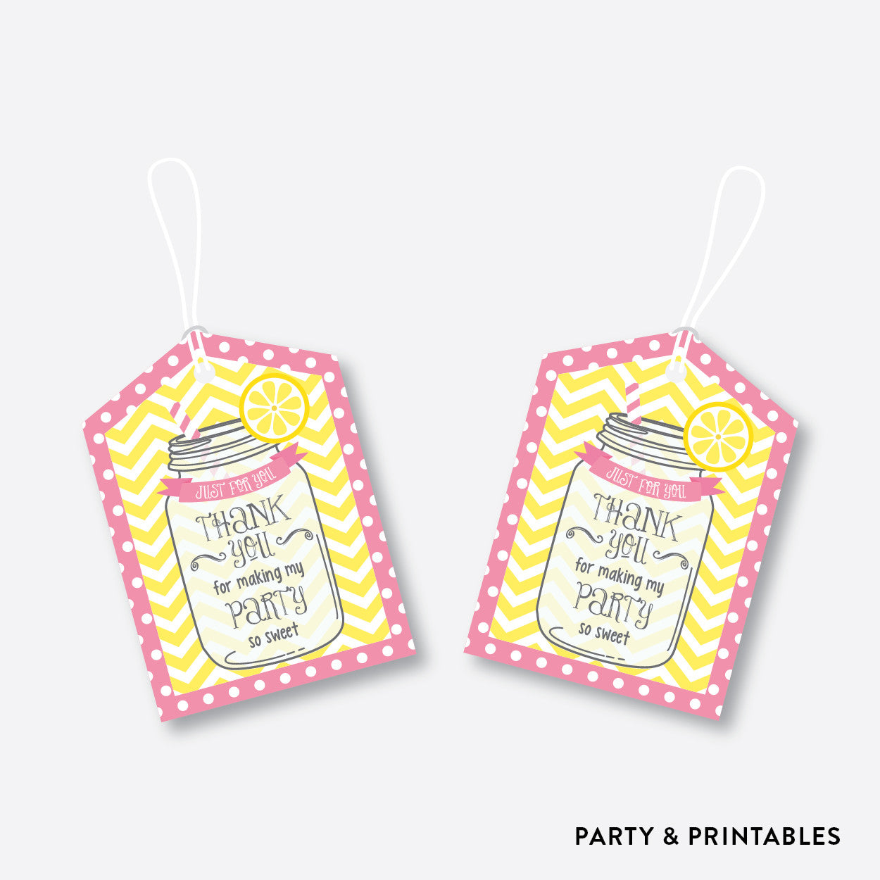 Pink Lemonade Stand Favor Tags / Non-Personalized / Instant Download (SKB.37), party printables - Party and Printables